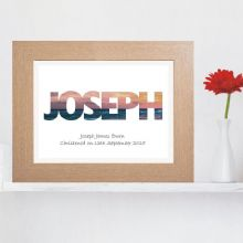 Sunset Name Print - Personalised New Baby or Christening Keepsake